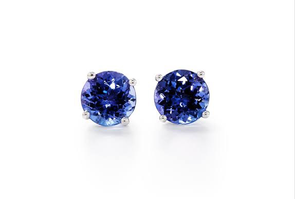 WIN: A pair of 9ct white gold tanzanite stud earrings (closed)