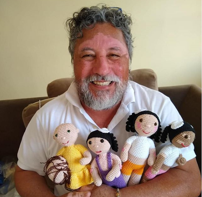 Grandfather crochets dolls inclusive of disability