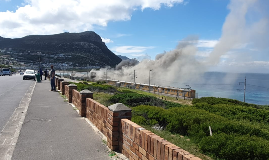 Train goes up in flames at Glencairn station