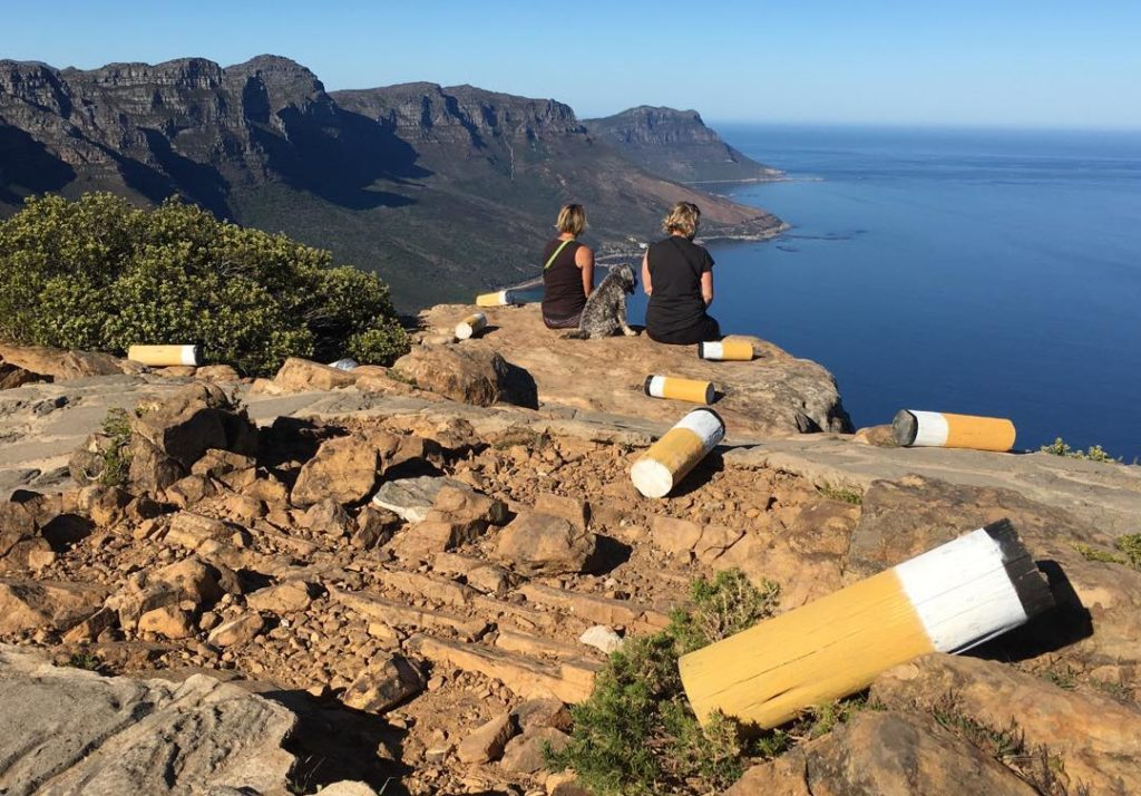 Giant cigarette butt installations in Cape Town