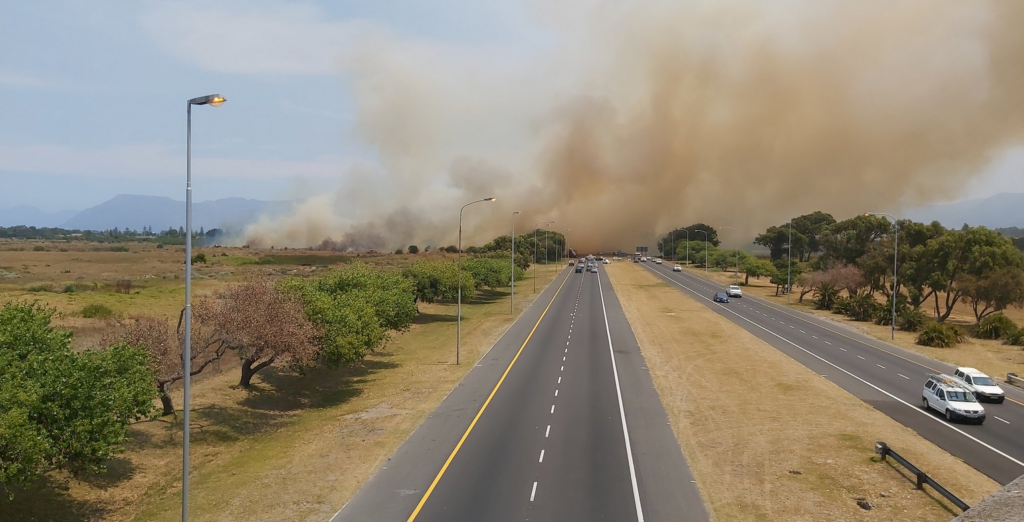 Vegetation fire blazes along M5