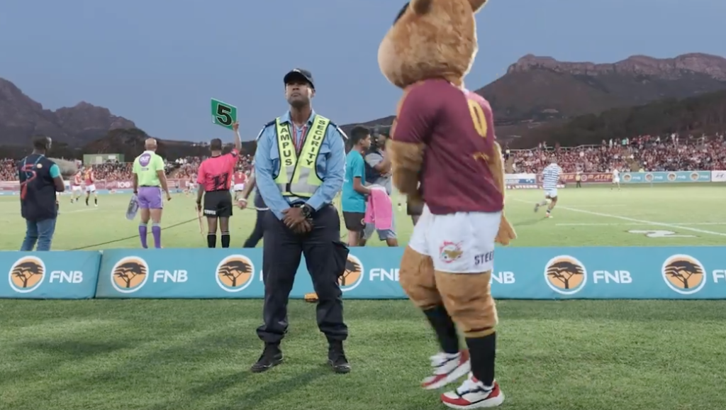 Dance-off between Stellies mascot and security guard
