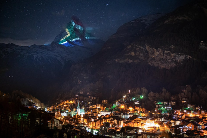 SA flag projected onto Matterhorn mountain in Switzerland