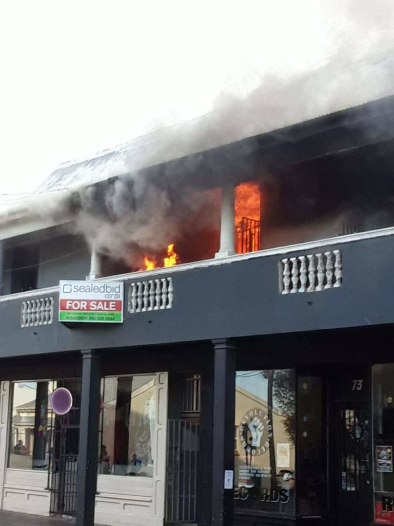 Observatory flat above Revolution Records up in flames