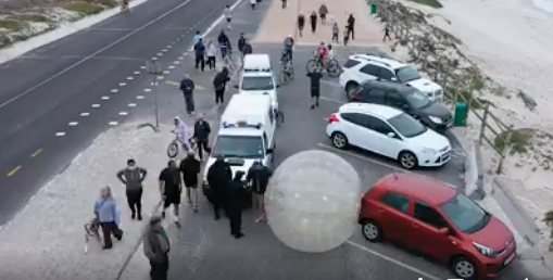 Man jogs through Cape streets in Zorb ball