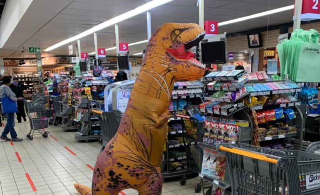 T-Rex goes shopping during lockdown in Cape Town