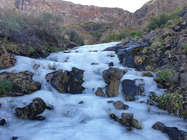 Waterfall freezes over as temperatures dip across the country