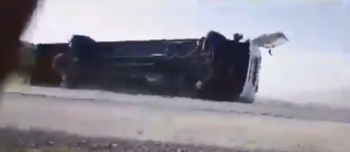 Truck blown over by gale force winds near Somerset West