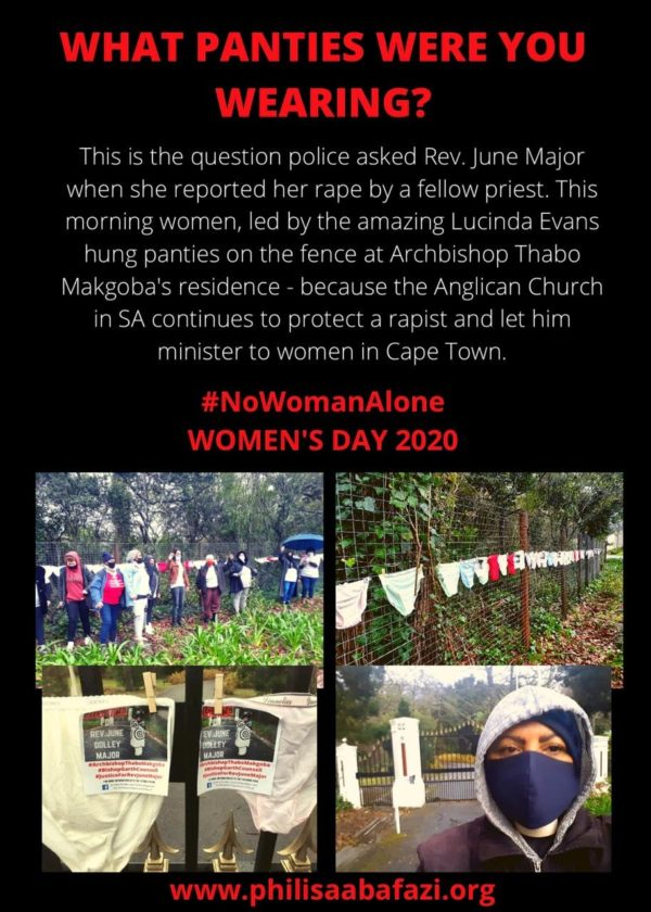 Women protest against GBV outside Archbishop's home