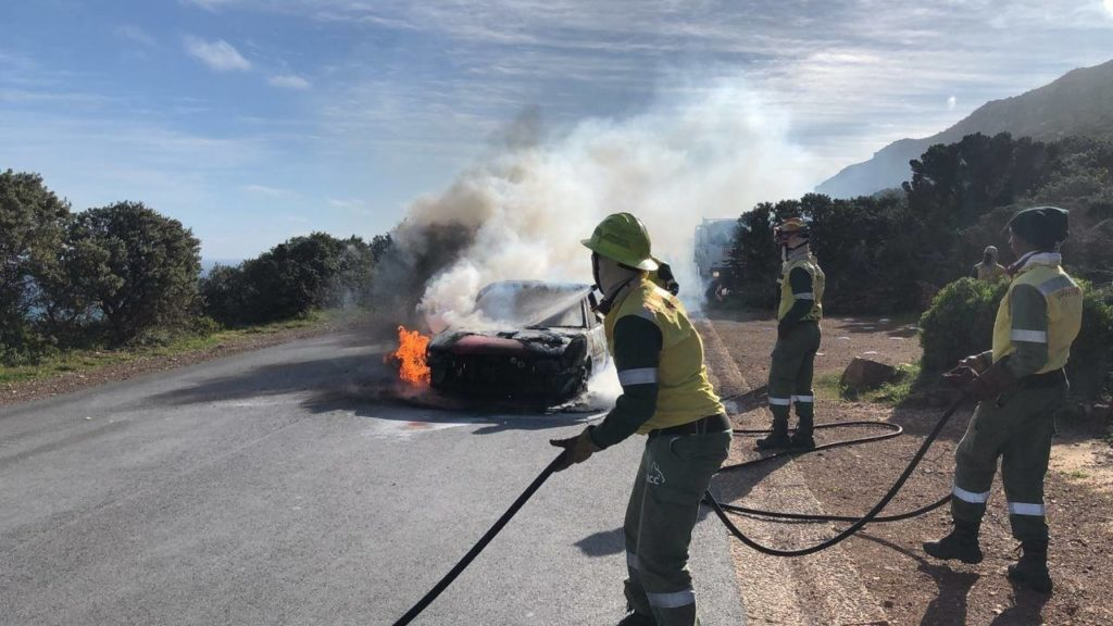 Vehicle alight at Cape Point