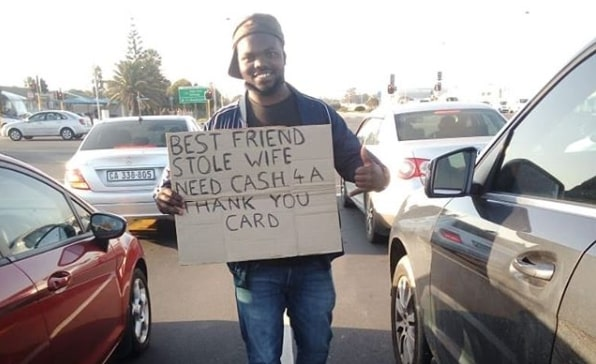 Blouberg jobseeker warms hearts with funny signs