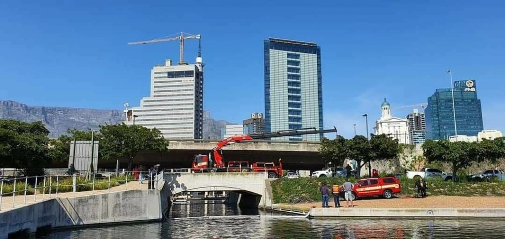 Another car plunges into canal beside CTICC