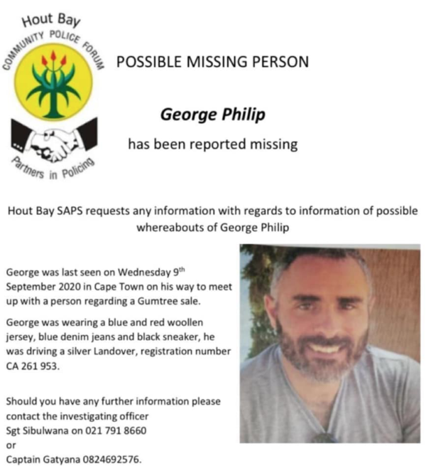 Hout Bay police search for missing man