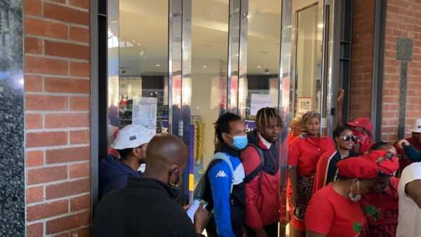 Staff leave Waterfront Clicks during EFF protest