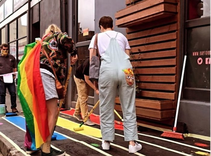 Rainbow road painted outside The Raptor Room to honour queer patrons