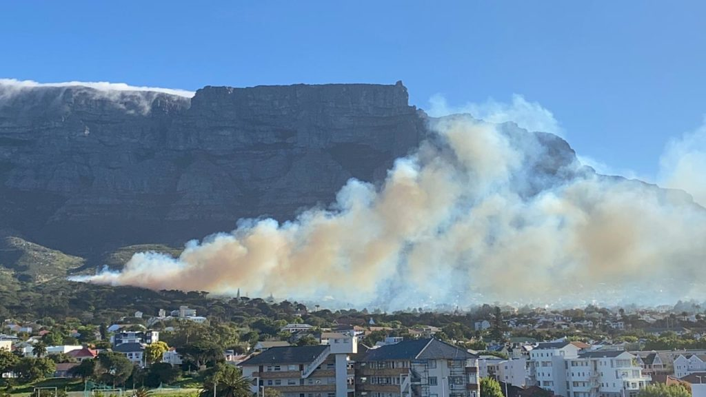Fire burning on lower slopes of Table Mountain
