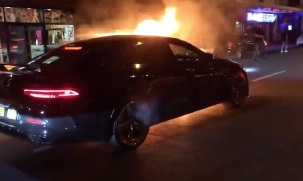Mercedes Benz catches alight on Long Street