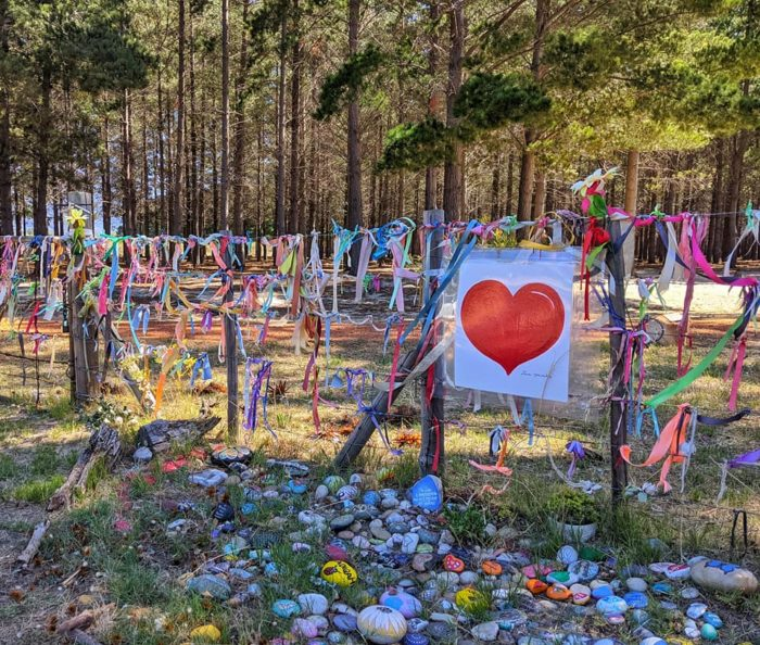 Tokai Forest's Ribbon Gate decorated to honour gender-based violence victims