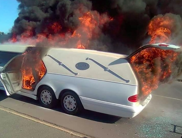 Hearse catches alight in Paarl