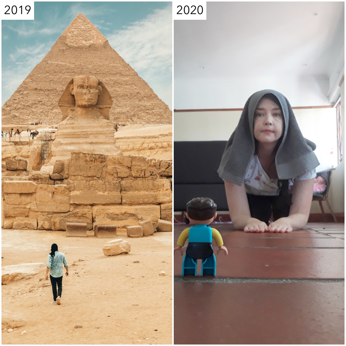 I quite like the Giza pic where instead of trying to look like a veryserious travel influencer, I gave that job to my niece's duplo man andembodied the magnificent instantly-recognisable landmark of the Sphinxin all its glory.