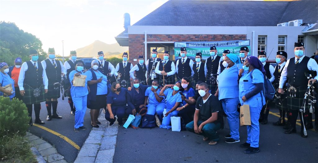 False Bay Hospital workers and patients receive Highlanders salute