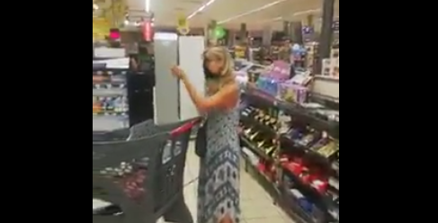 Woman uses thong as mask to do grocery shopping