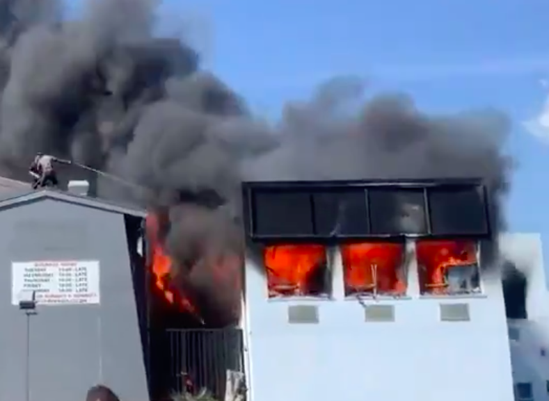 WATCH: burning factory mistaken for strip club on fire