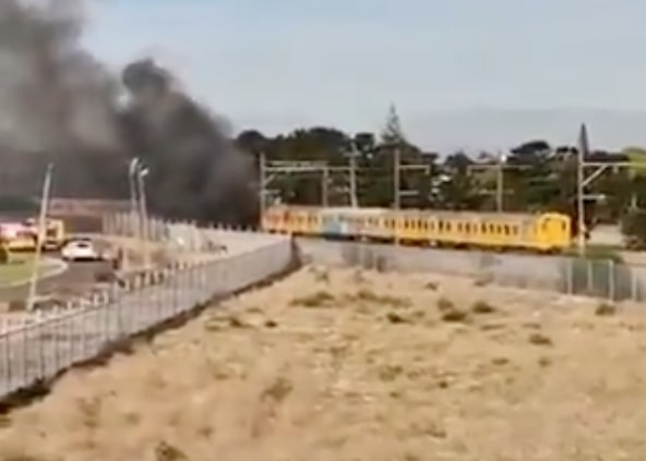WATCH: Train up in flames