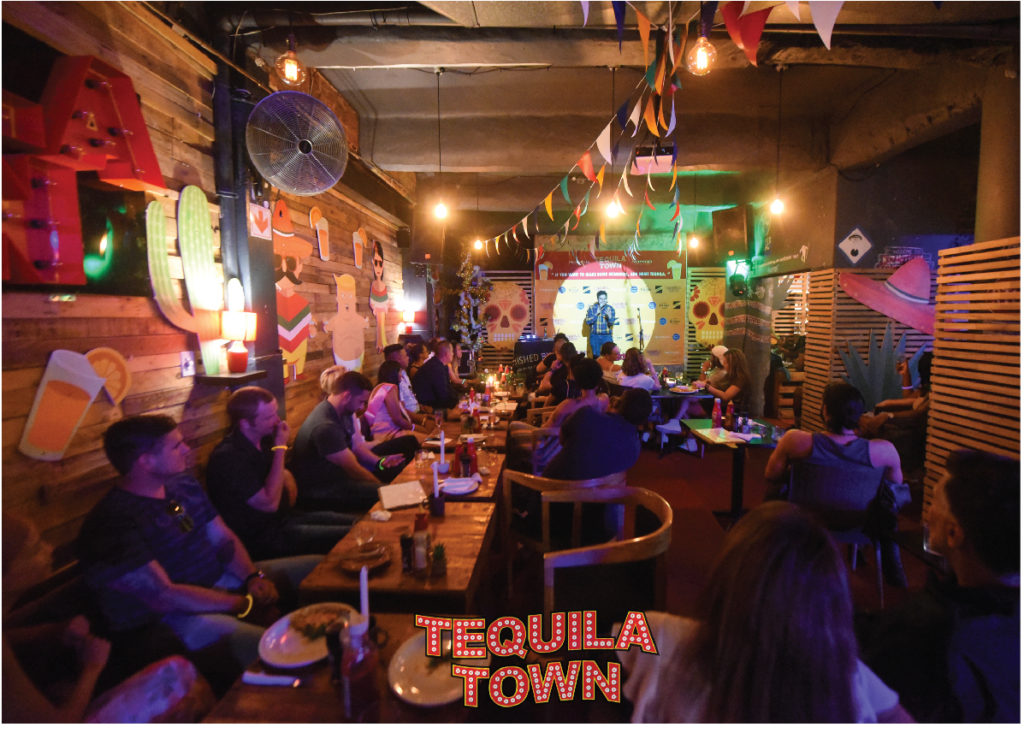 100+ bottles of tequila at Tequila Town? One way to warm up!