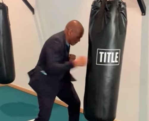 WATCH: Ace Magashule sparring with a punching a bag
