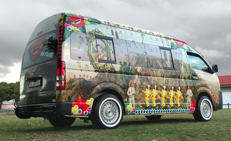 Minibus taxi becomes a mobile art gallery