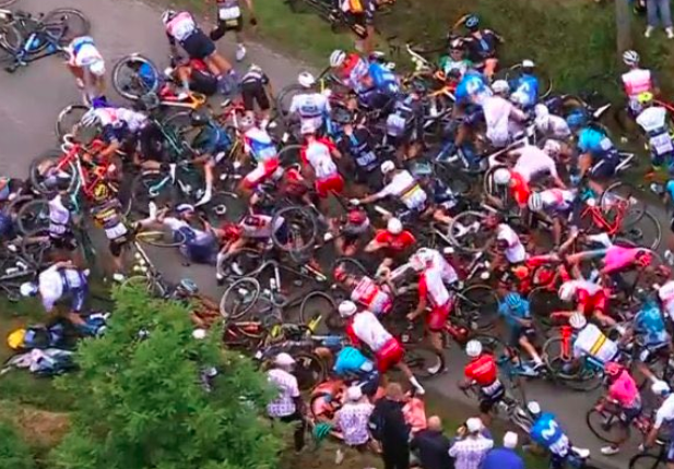 WATCH: Spectator who caused massive crash at Tour de France gets arrested