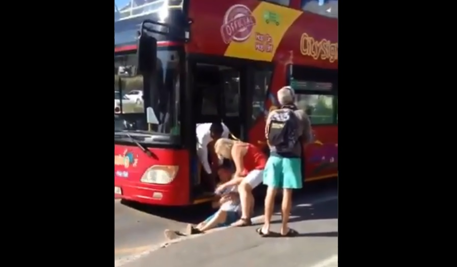 WATCH: One wine tasting too many? Man topples out of Red Bus