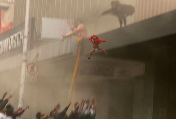 WATCH: Baby thrown from a burning building in Durban