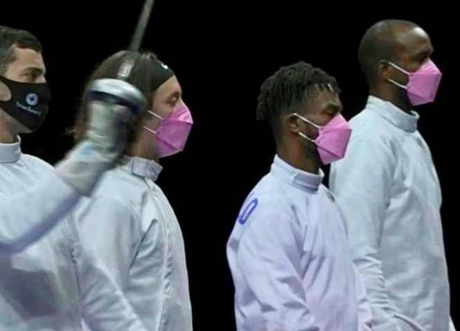 Pink masks worn by US fencing team allegedly expose member accused of sexual assault