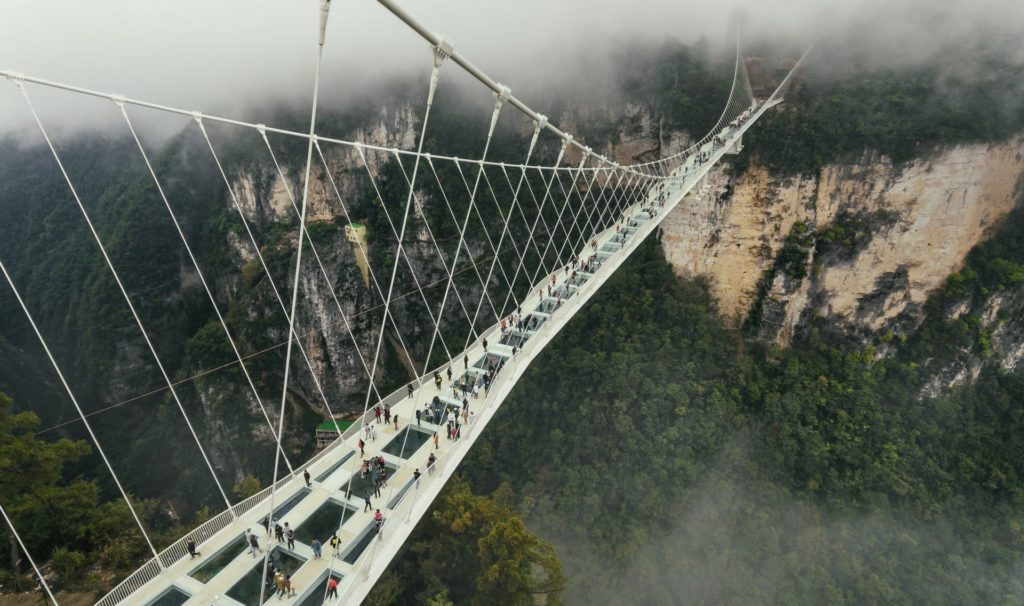 WATCH: Get your heart pounding by jumping the world's highest glass-bottom bridge