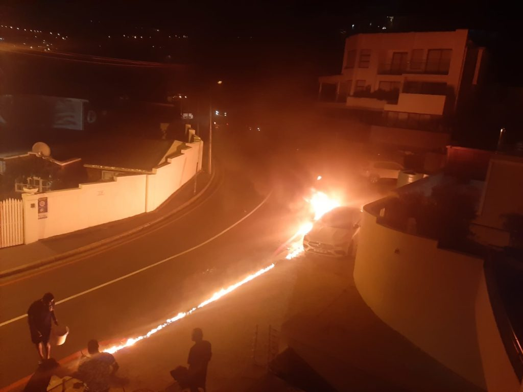 WATCH: Mercedes Benz petrol bombed in Camps Bay
