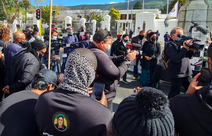 WATCH: The Uyinene Mrwetyana Foundation gathers outside Parliament