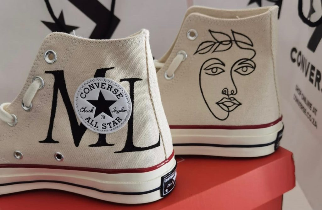 Custom Converse creations reminding us to affirm ourselves as women